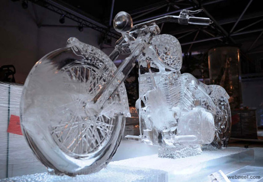 ice sculpture motor bike