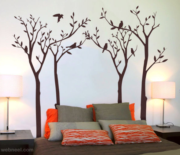 wall tree painting for bedroom wall painting bedroom - Design Of Wall Painting