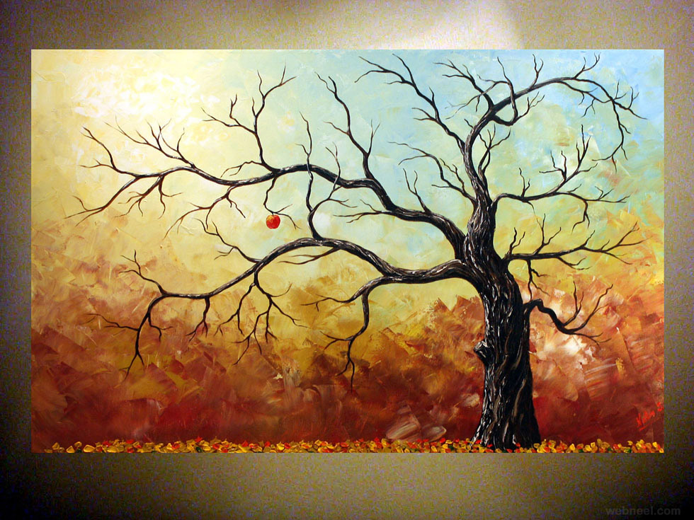 35 stunning and beautiful tree paintings for your inspiration for Mural examples