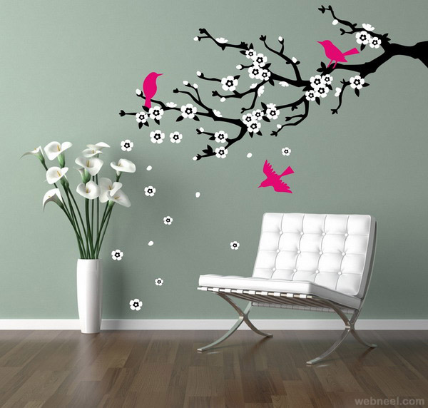wall painting tree with birds wall painting - Wall Paint Design