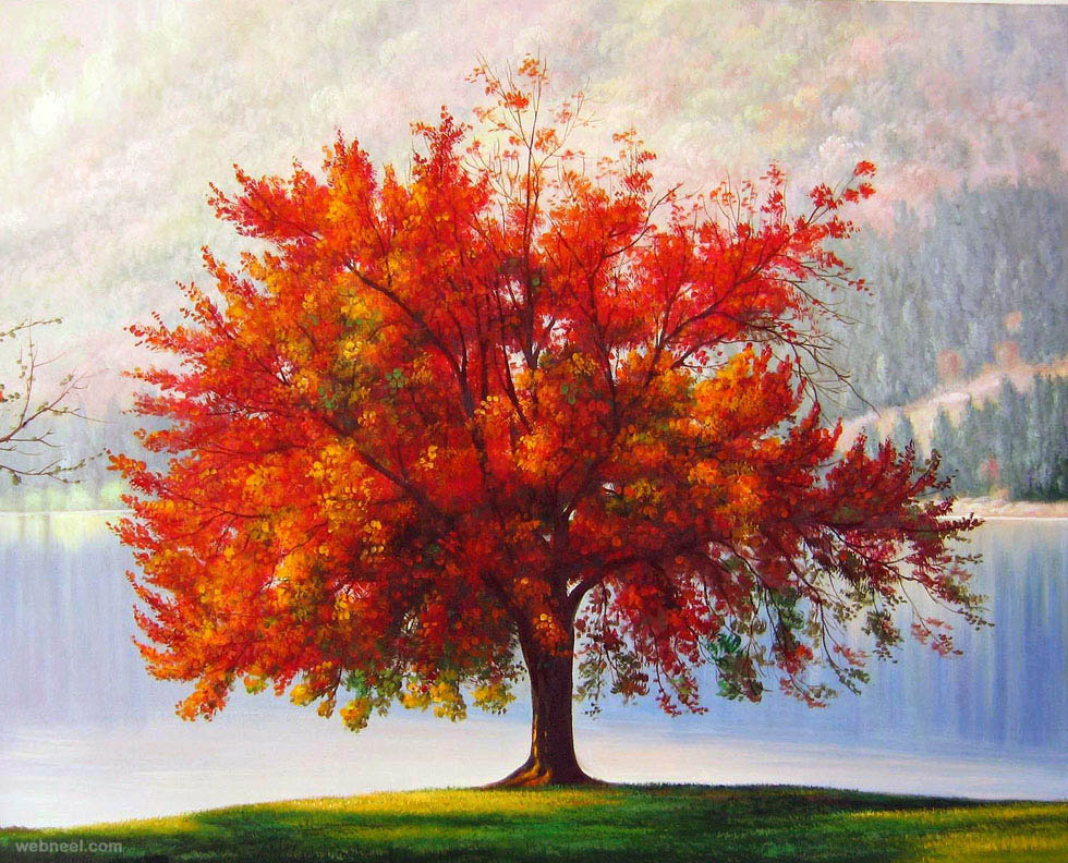 Realistic tree painting 26 for Autumn tree painting