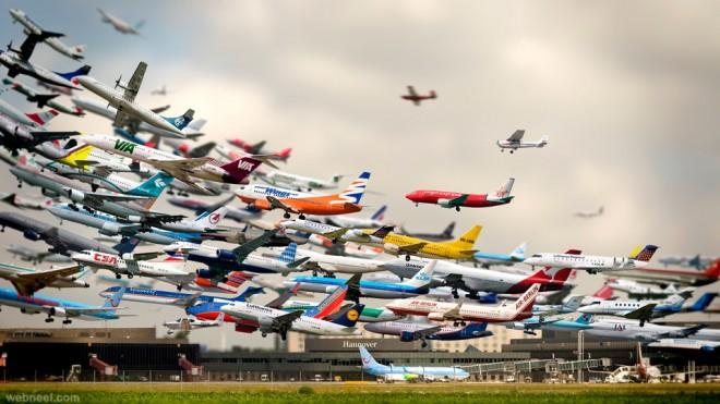 tilt shift photography airport