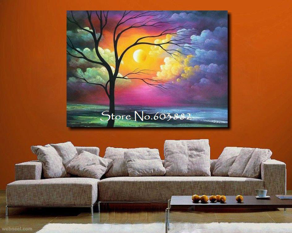 35 stunning and beautiful tree paintings for your inspiration A wall painting
