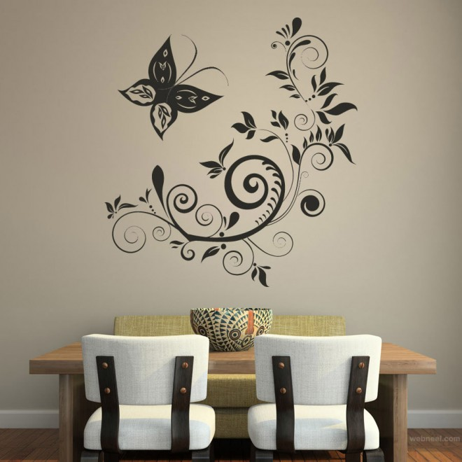 wall art ideas floral design wall art floral - Wall Sticker Design Ideas