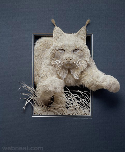 paper sculpture cat