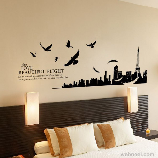 wall art ideas city and birds wall art - Decorating A Bedroom Wall