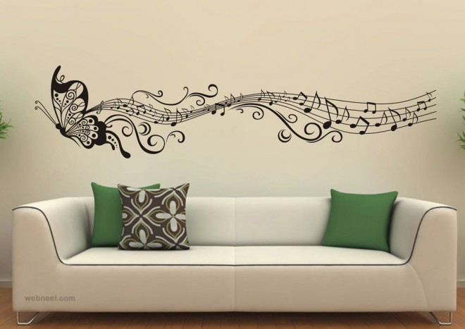 wall decals art ideas butterfly music design wall art design