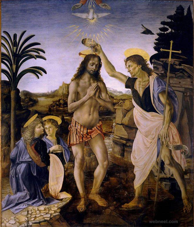 christ baptism da vinci