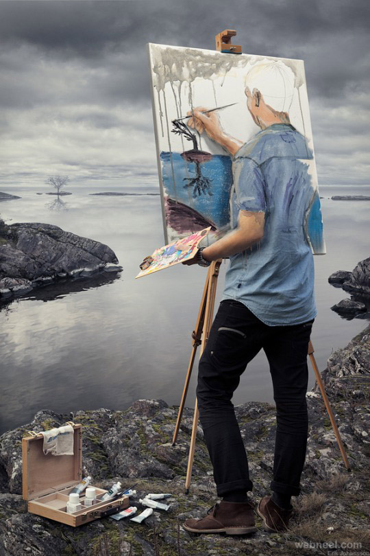 Artist painting photo manipulation for Daily photo ideas