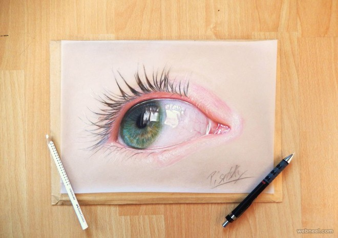 human eye pencil drawing