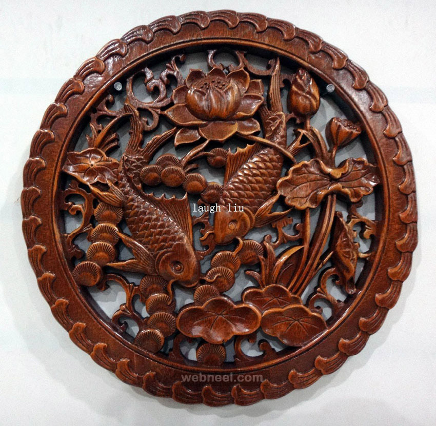 chinese wood wall sculpture