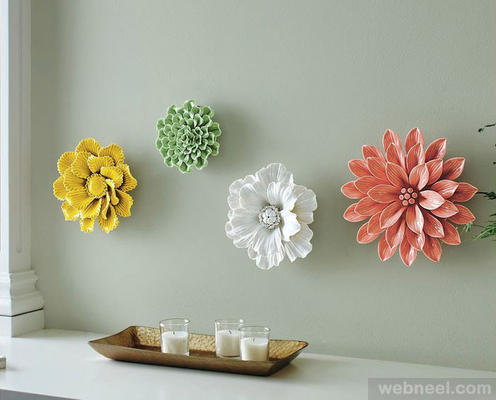 Wall Art Flowers Pictures : Ceramic flower wall sculpture