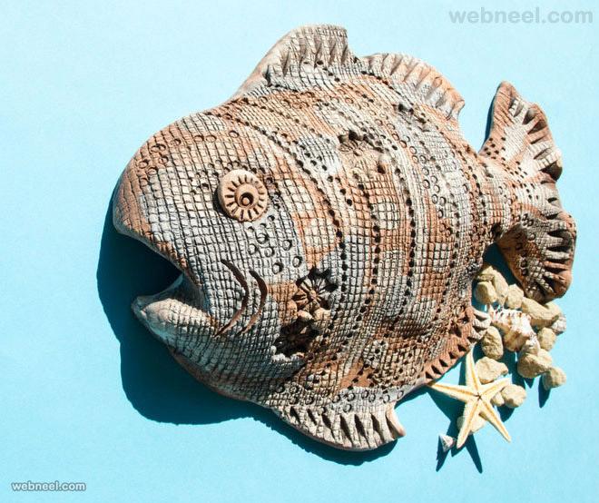 ceramic fish wall sculpture