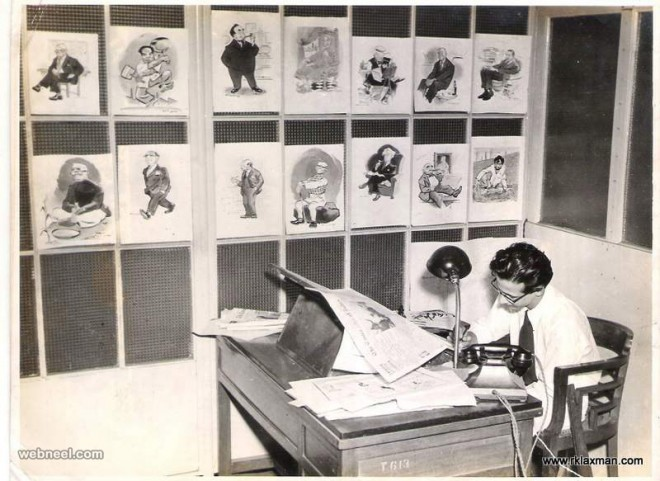 rk laxman cartoonist at work