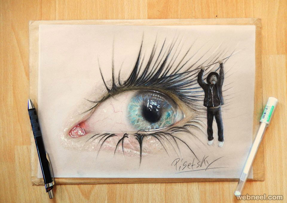 eyes pencil drawing by pisetsky