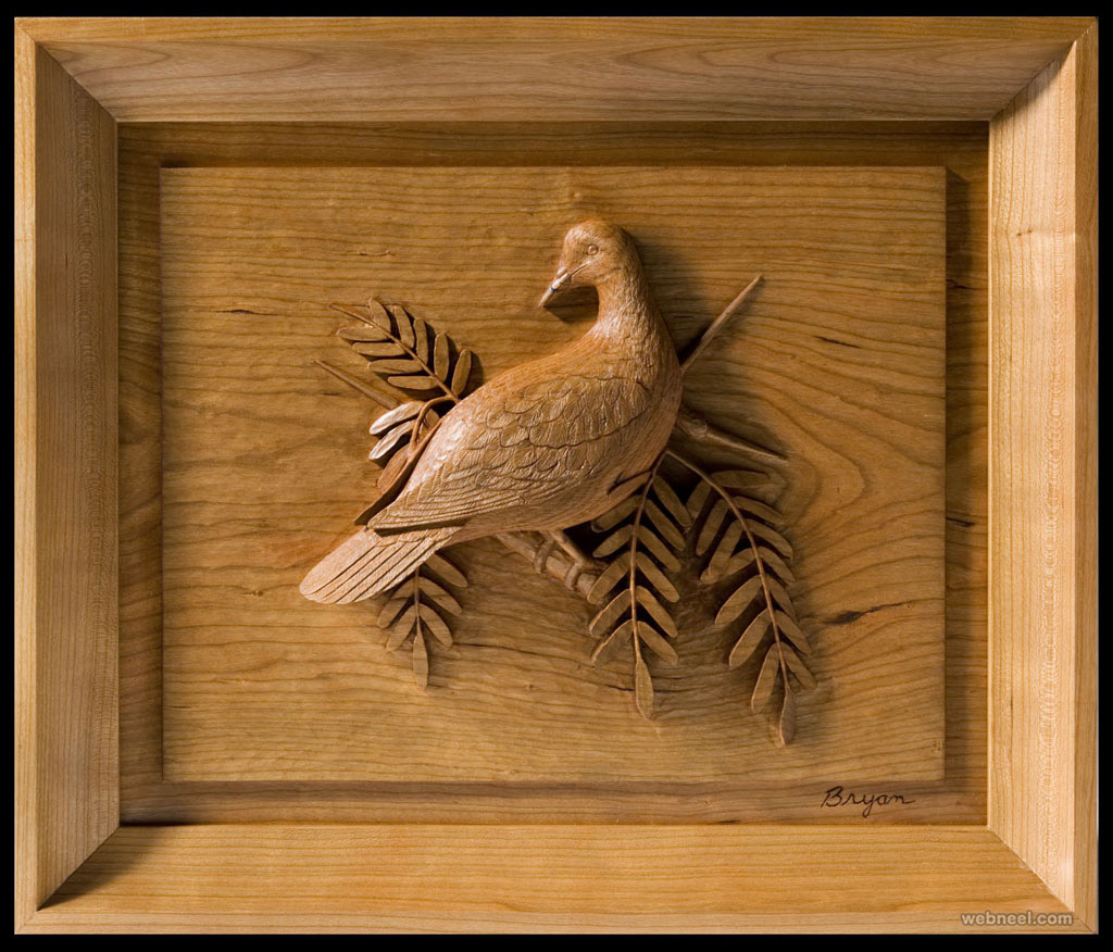 bird wood wall sculpture johnbryan