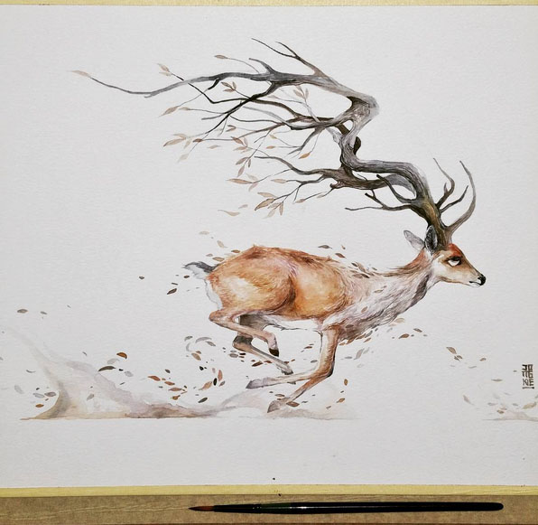 beautiful watercolor by luqman reza mulyono