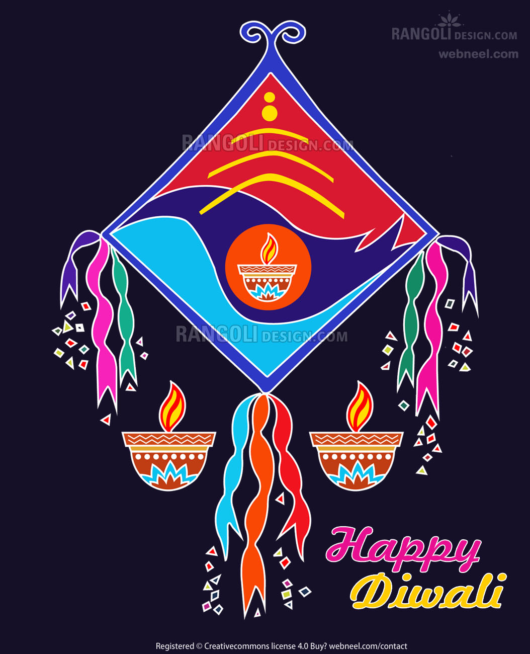 kite diya rangoli design by webneel
