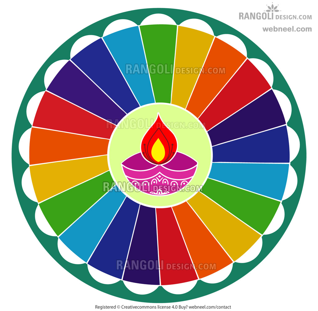 rainbow rangoli design for diwali by webneel