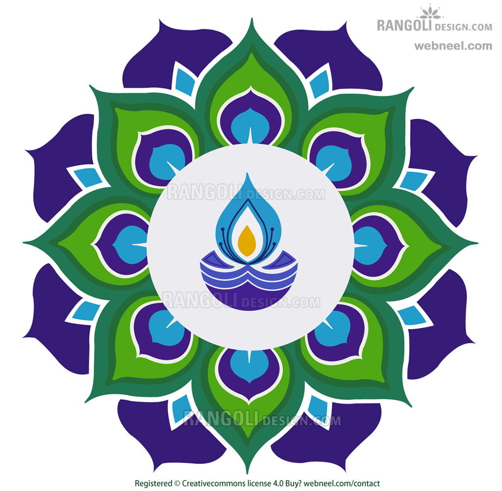 diya peacock rangoli design for diwali by webneel