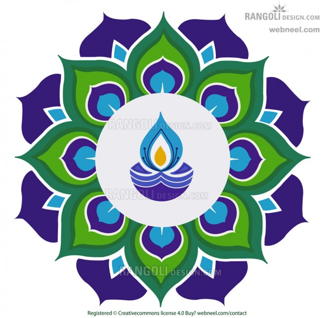 diya peacock rangoli design for diwali