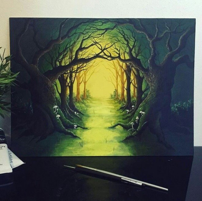 forest acrylic painting by cheneygram