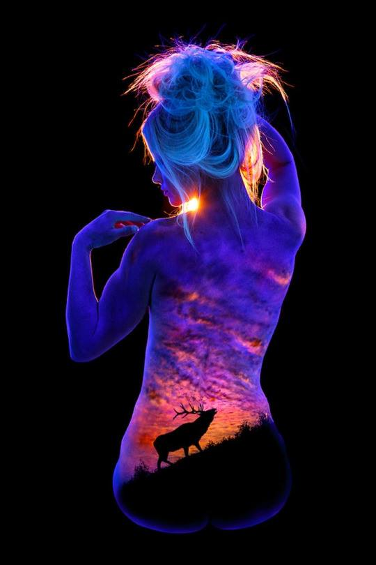 nigh glow body painting by john poppleton