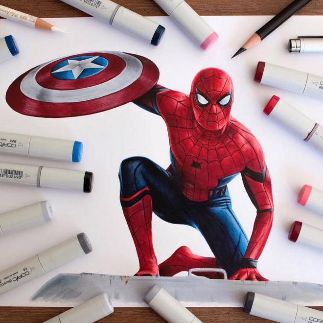 Spiderman Drawing by Stephenward Art  Drawing
