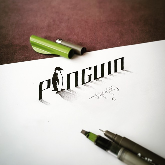 3-penguin-3d-calligraphy-by-tolga-girgin