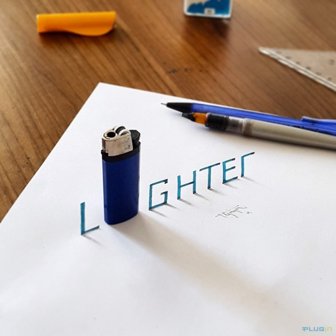 lighter 3d calligraphy by tolga girgin