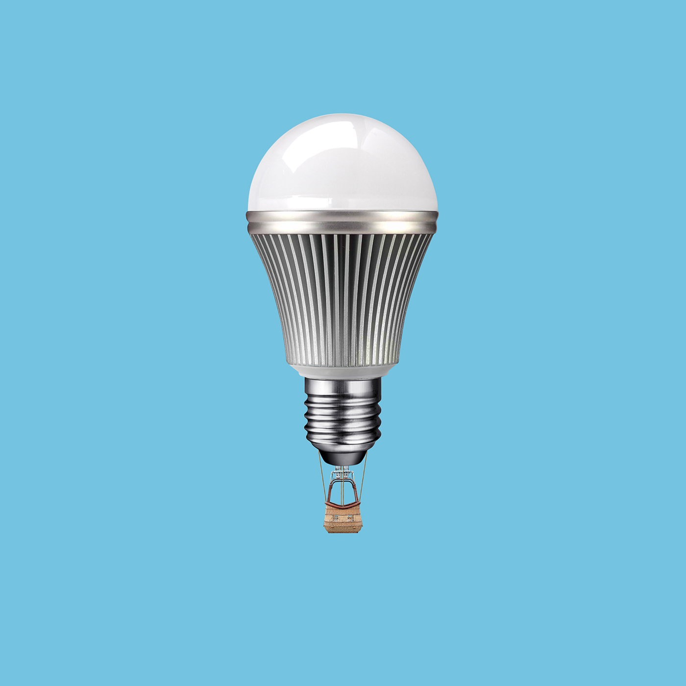 hot air balloon led lamp photo montage photoshop