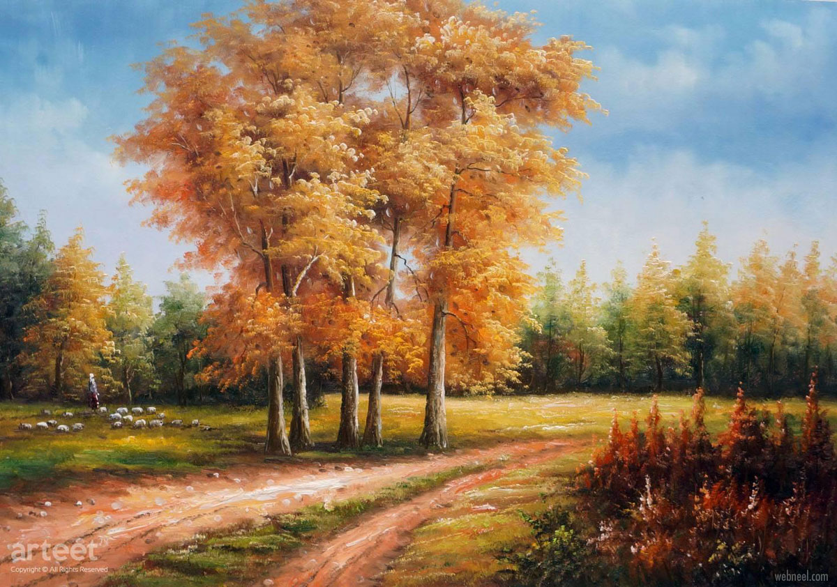 landscape oil painting fall by arteet