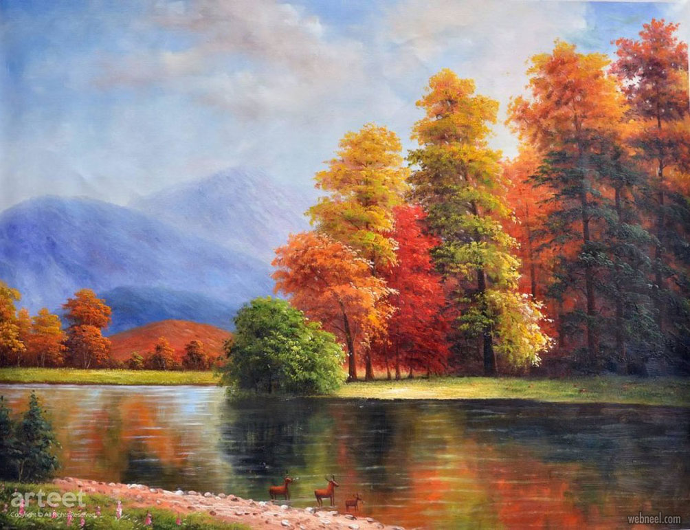 scenery oil painting autumn by arteet