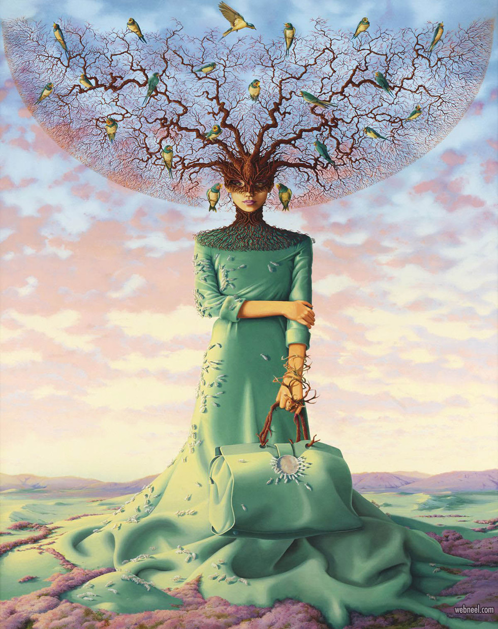surreal painting artwork tree dress