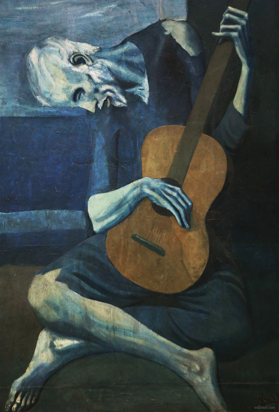 famous oil paintings the old guitar by pablo picasso