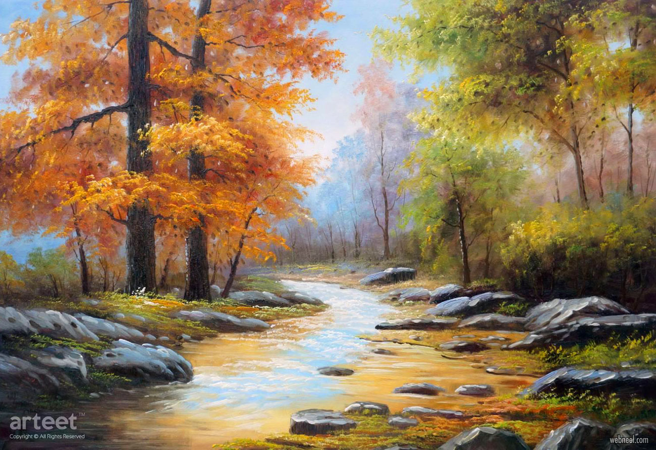 nature scenery oil painting trees
