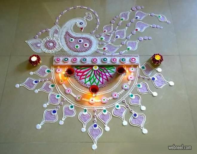 diwali rangoli design peacok by poonam borkar