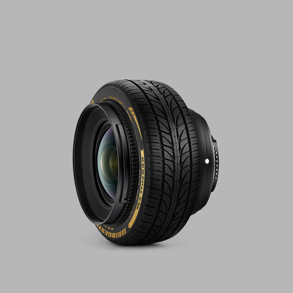 camera lens tire photo montage photoshop