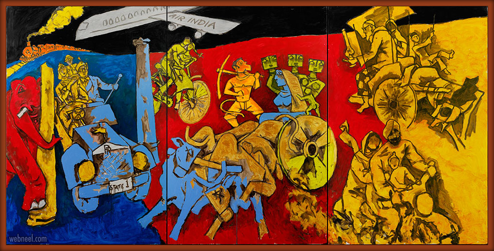 indian modern paintings modes of transport by mf hussain