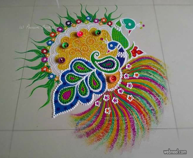 diwali rangoli design peacock by poonam borkar