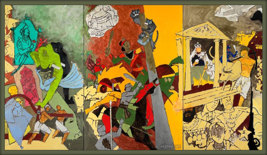 indian modern paintings three dynasties by mf hussain