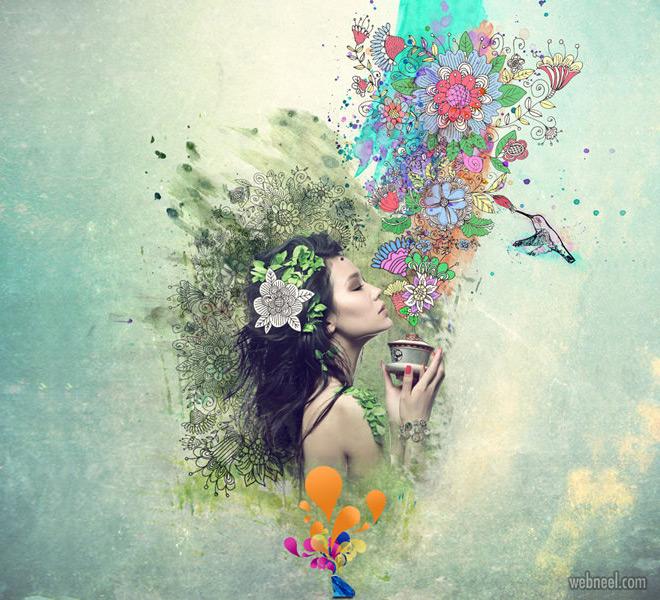 photo manipulation woman flowers