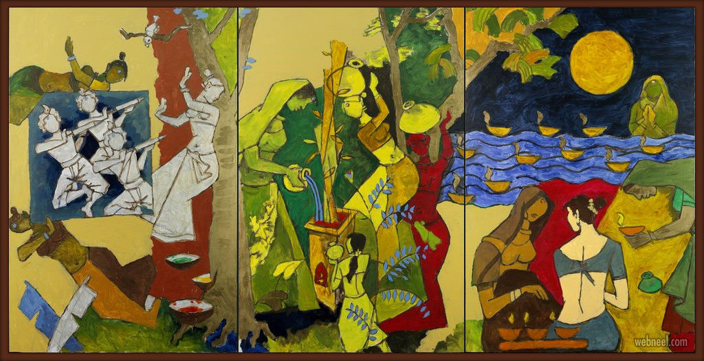 indian modern paintings indian festival by mf hussain