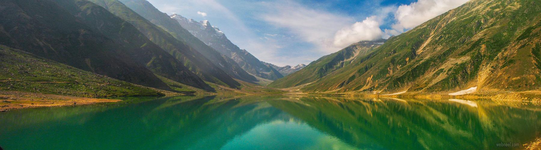 panoramic photography lake mountain