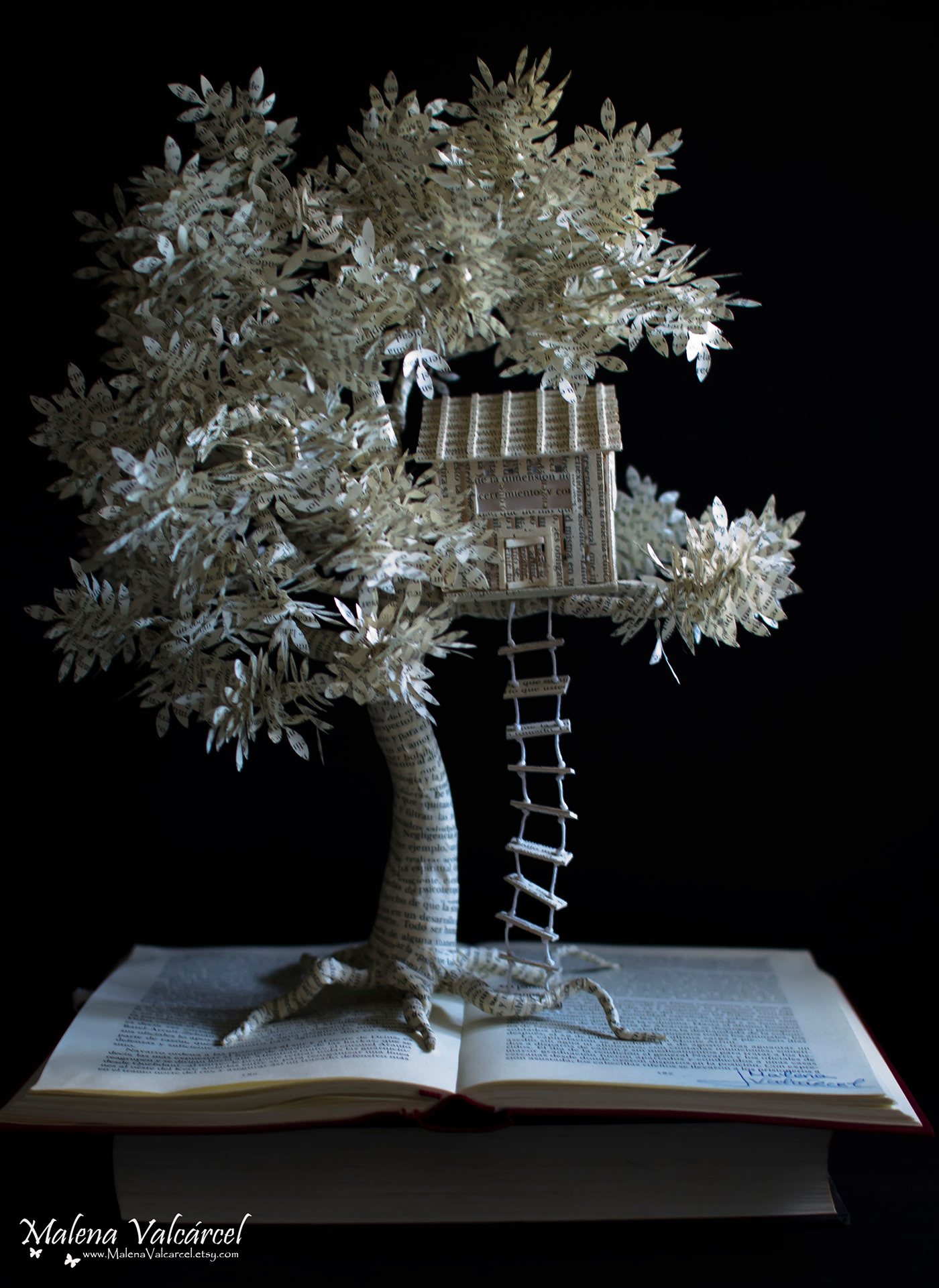 paper sculpture treehouse by malena valcarcel