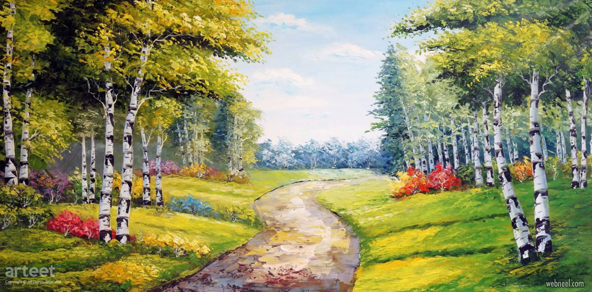 landscape oil painting spring by arteet