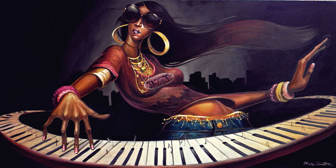 painting frank morrison%20(4) 30 Stunning Black woman Paintings and Illustrations by Frank Morrison