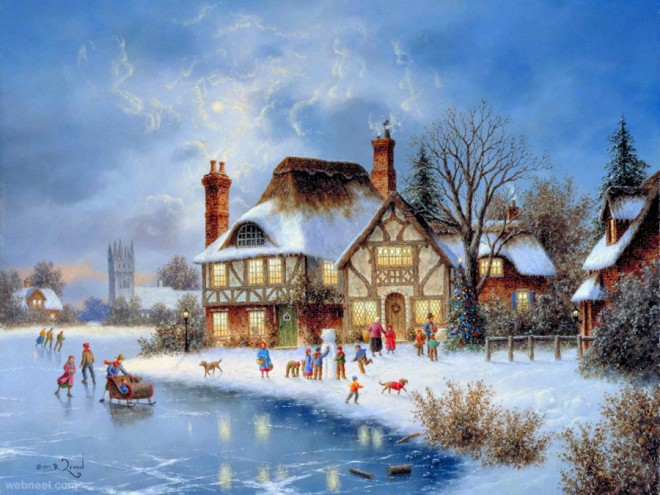 40 beautiful christmas paintings for your inspiration Christmas card scenes to paint