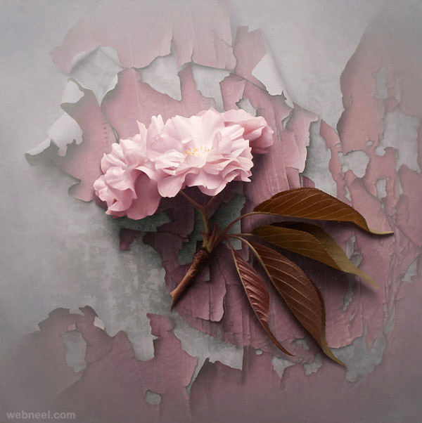 40 beautiful and realistic flower paintings for your for Flower paintings on canvas