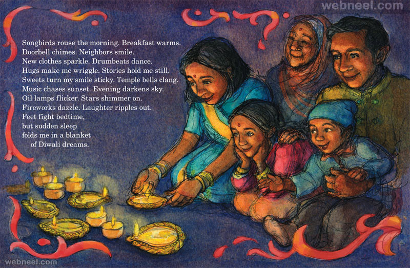 diwali greeting cards poem illustration